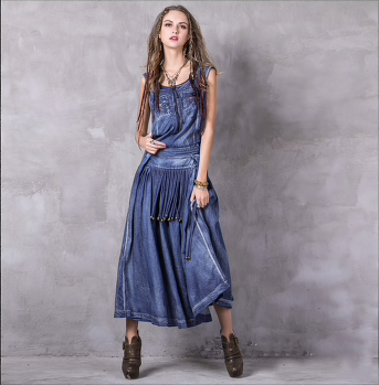 Women Summer Dress 2018 Yuzi.may Boho New Denim Vestidos A-Line Belted Embroidery O-Neck Swing Hem Maxi Sundresses-JetSet-JetSet