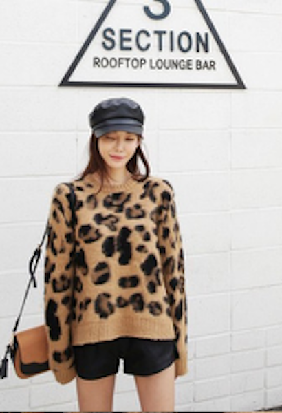 Women's Fashion Leopard Cashmere Sweaters Long Sleeve O Neck Casual Loose knitting Thicken Tops-JetSet-JetSet