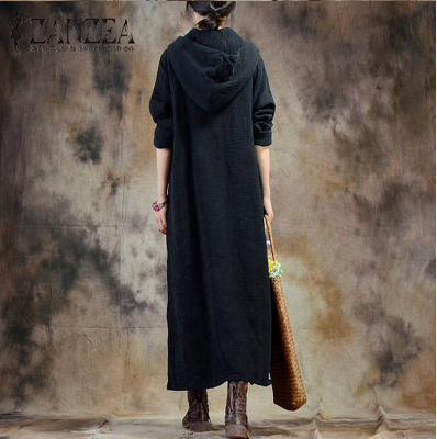 ZANZEA Top Fashion Women Long Sleeve Black Vestidos Beach Party Loose Long Dress Cotton Linen Tunic Kaftan Plus Size 5XL-JetSet-JetSet
