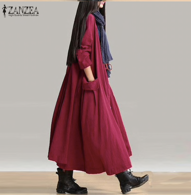 ZANZEA Fashion Women Retro Cotton Linen Open Front Cardigan Jacket Outwear Autumn Oversized Loose Casual Long Ladies Coat-JetSet-JetSet