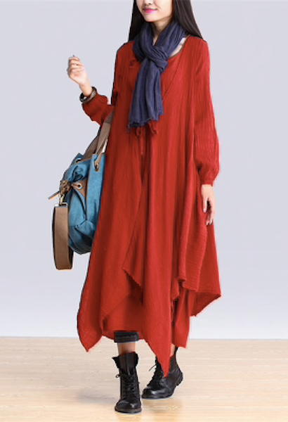 ZANZEA Autumn Casual Loose Solid Long Dress 2pcs Women Retro O neck Long Sleeve Elegant Maxi Dresses Plus Size Vestidos-JetSet-JetSet