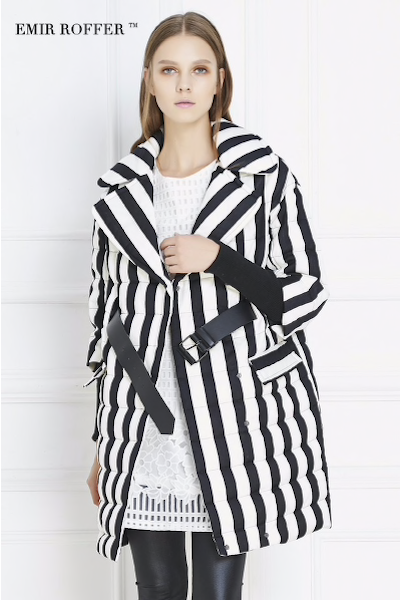 High Quality Winter Women Thick Down Coat Women's 3/4 Sleeve Black And White Striped Pattern Duck Down Parkas Jacket-JetSet-JetSet