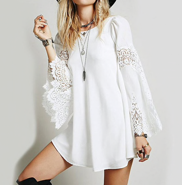 ZANZEA Womens Sexy Party Lace Crochet Splice Flare Sleeve Mini Shirt Dress White Hollow Out Loose Casual Short Dresses-JetSet-JetSet