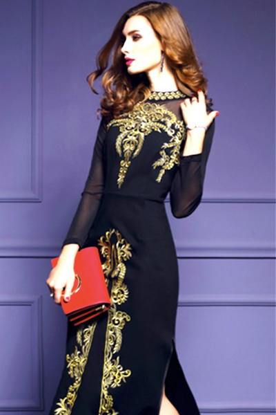 Women Dress 2019 Spring Autumn Vintage Long Dresses Long Sleeves Black Net Yarn Embroidery Sexy Split Ends Slim Vestido P024-JetSet-JetSet