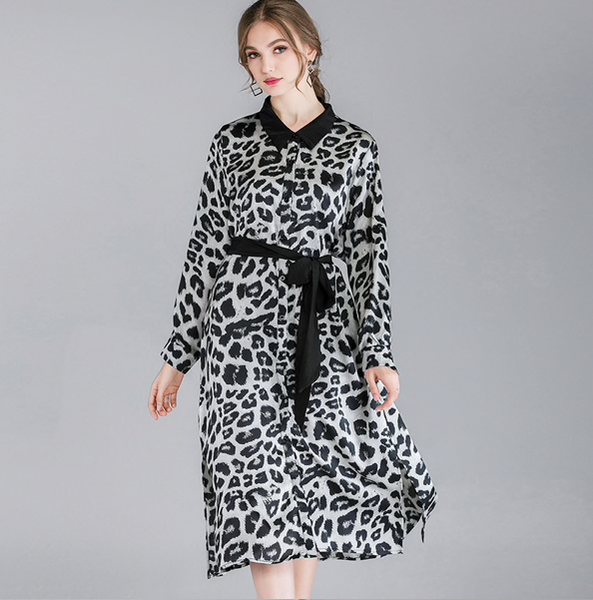 [EAM] 2019 New Spring Summer Lapel Long Sleeve Gray Leopard Printed Waist Bandage Temperament Loose Dress Women Fashion JO387-JetSet-JetSet