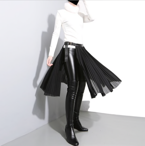 [EAM] 2019 New Spring High Waist Solid Color Black Pleated Loose Split Joint Half-body Skirt Women Fashion Tide-JetSet-JetSet