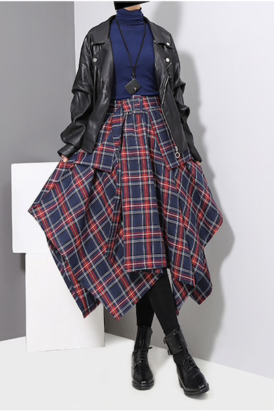 [EAM] 2019 New Spring High Waist Red Plaid Split Joitn Loose Big Hem Half-body Skirt Women Fashion Tide All-match-JetSet-JetSet
