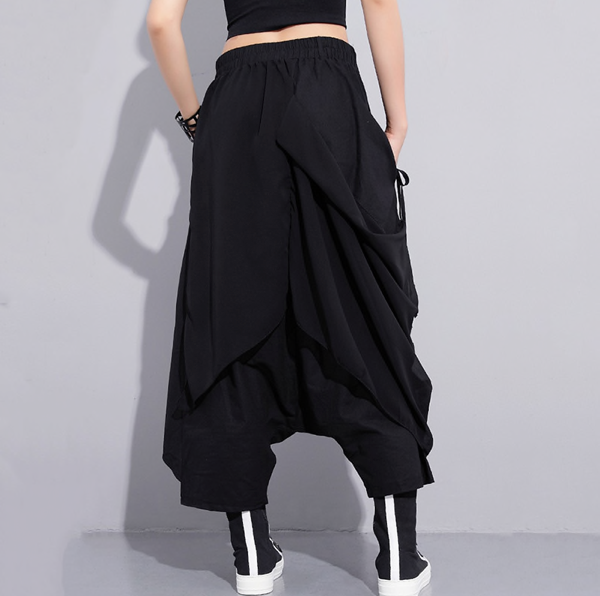 [EAM] 2019 New Spring High Elastic Waist Black Fold Bandage Stitch Loose Long Cross-pants Women Trousers Fashion-JetSet-JetSet