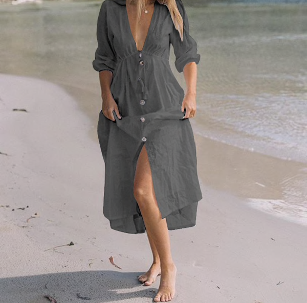 Celmia Women Sexy Deep V Neck Maxi Dress 2019 Summer Casual Buttons Tunic Shirt Dress Lace Up Long Party Vestidos Robe Plus Size-JetSet-JetSet
