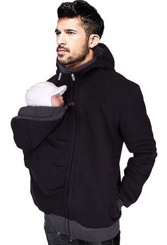 Father Hoodies Carrier T-shirt Tops baby carrier packback multifunction Front carry pockets kangaroo clothing dad pappy-JetSet-JetSet