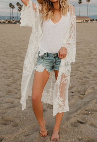 2018 Summer Women Sexy Blouse Cardigan See-through Lace Floral Bikini Cover-up Outwear Shirt Kimono Beach Sun Protection Clothes-JetSet-JetSet