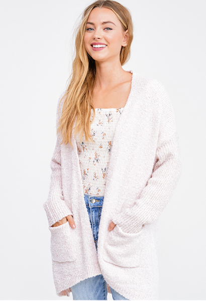 LIGHT BLUSH PINK BOUCLE SWEATER KNIT RIBBED SLEEVE POCKETED OPEN FRONT BOHO CARDIGAN TOP