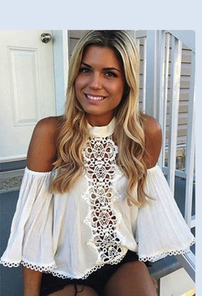 Off Shoulder Lace Sexy Summer Blouse-Alessio Eno-JetSet