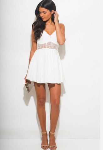 IVORY WHITE BUSTIER CUT OUT RACER BACK BOHO MINI SUN DRESS-WSF-JetSet