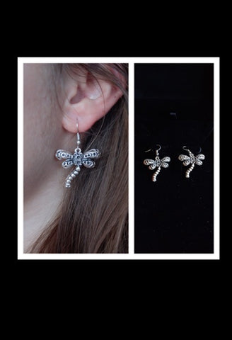 Mexican Silver Dragonfly Earrings-JetSet-JetSet