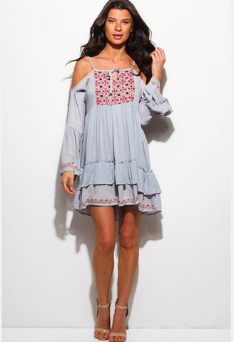STONE GREY ETHNIC EMBROIDERED COLD SHOULDER RUFFLE TIERED BOHO PEASANT MINI DRESS-WSF-JetSet