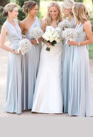 New Light Blue Covertible Bridesmaid Dresses Pleated Floor length Country Beach Wedding Guest Party Gowns Cheap Long Prom Dress-JetSet-JetSet