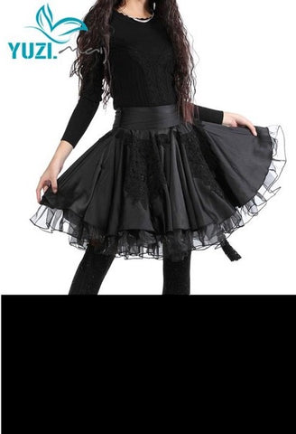 Vintage Elegant Lace Patchwork A-Line With Tassel Pleated Organza Fluffy Black Women Skirt-JetSet-JetSet
