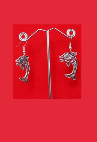 Mexican Silver Dolphin Earrings-JetSet-JetSet