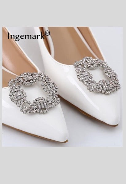 Ingemark 2019 Fashion White Crystal Shoes Clips for Women Decorating Rhinestone High Heels Shoe Buckle Charms Anklet Accessories-JetSet-JetSet
