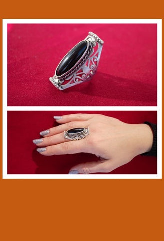 Mexican Silver Ring with Black Stone-JetSet-JetSet