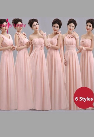 741733ca676a Beauty-Emily Cheap Long Chiffon Blush Pink Bridesmaid Dresses 2019 A-Line Vestido  De