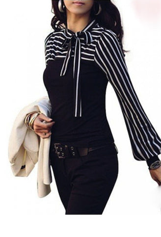 Lantern Sleeve Striped Blouse-NC-JetSet