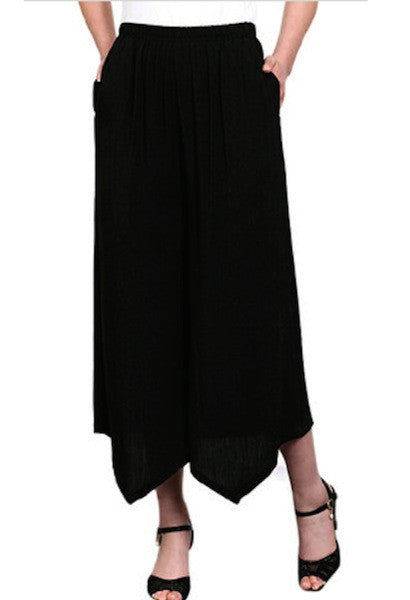Casual Elastic Waist Cotton Linen Wide Leg Pants-NC-JetSet
