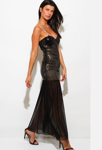 BLACK SEQUINED SHEER MESH BACKLESS EMBELLISHED FORMAL EVENING MAXI DRESS-WSF-JetSet