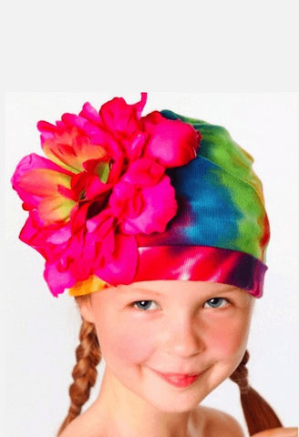 RAINBOW TIE DYE HAT WITH RASPBERRY LARGE PEONY-Jamie Rae Hats-JetSet