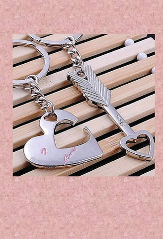 Lovers Pair Heart and Arrow Keychains-LIB-JetSet