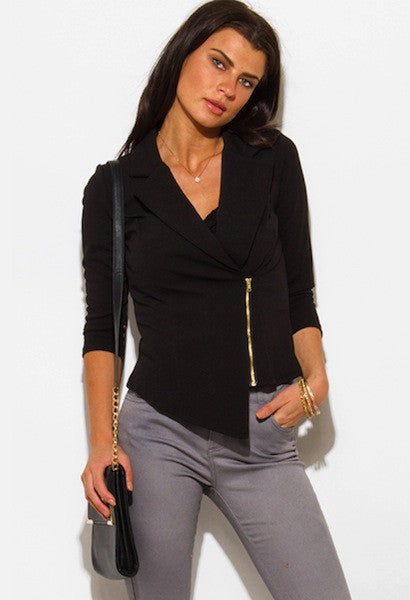 BLACK HEM QUARTER SLEEVE BLAZER TOP-WSF-JetSet