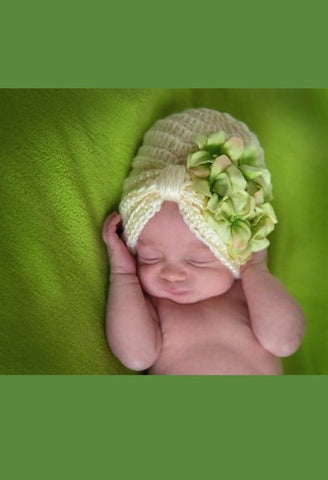 CREAM TINY TURBAN WITH GREEN SMALL GERANIUMS-Jamie Rae Hats-JetSet