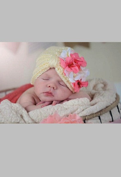 CREAM TINY TURBAN WITH PINK WHITE GERANIUM-Jamie Rae Hats-JetSet