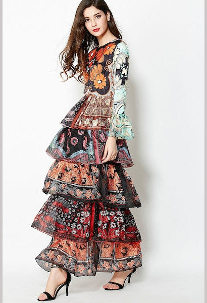 New Arrival 2017 Women's O Neck Long Sleeves Floral Printed Tiered Ruffles Layered Elegant Maxi Designer Runway Dresses-Alessio Eno-JetSet
