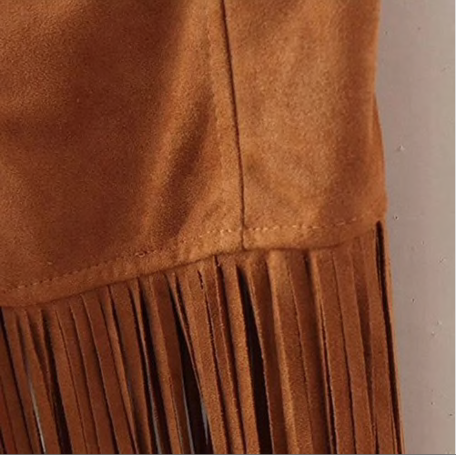 Women Autumn Fashion Suedette Sleeveless Tassel Fringed Jacket Vest Waistcoat-JetSet-JetSet