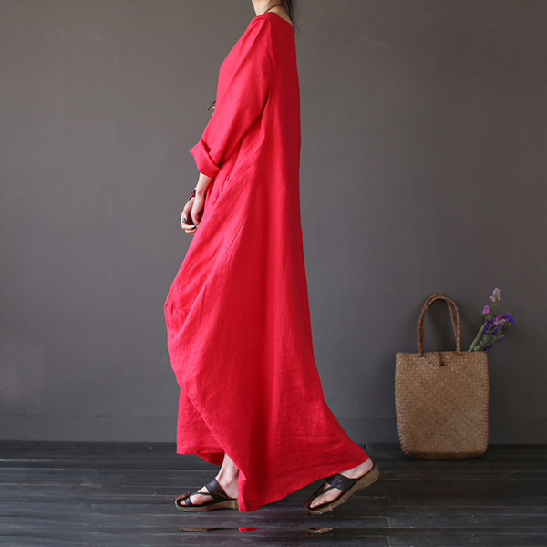 [IASK] 2018 Summer Plus Size Dresses Women 4xl 5xl Loose Cotton Linen Dress O-neck White Boho Shirt Dress Long Sleeve Maxi Robe-JetSet-JetSet