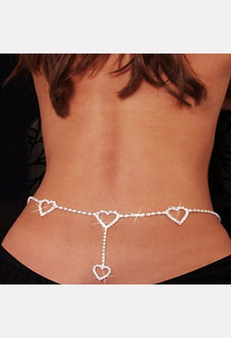 Rhinestone Heart Body Chain-LIB-JetSet