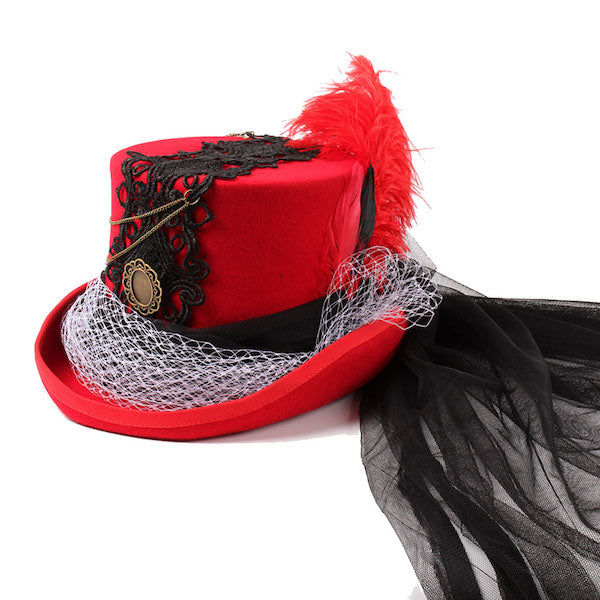 Gorgeous, Funky Handmade Red Wedding Lady Fedora Hat-AE-JetSet