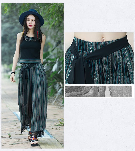 New Plus size Summer Fashion Women Striped Wide Leg Lace Bow Loose Dress Pants Female Casual Skirt Trousers Capris Culottes-JetSet-JetSet