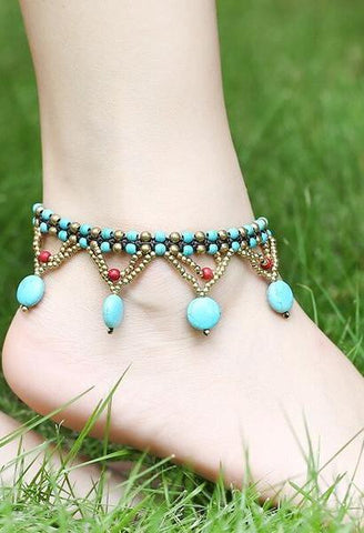 New Fashion Style Ethnic Beads Braided Copper Bell Anklet Bracelet Foot Anklets For Women Foot Jewelry-JetSet-JetSet