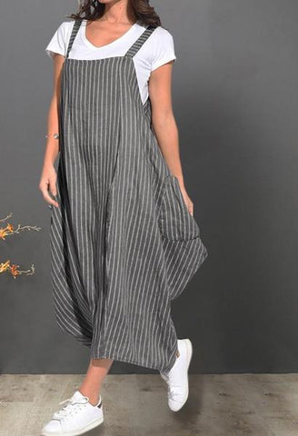 Sundress ZANZEA Women Summer Dress Ladies Sleeveless Striped Maxi Dresses Casual Baggy Long Vestidos Female Beach Bohemian Dress