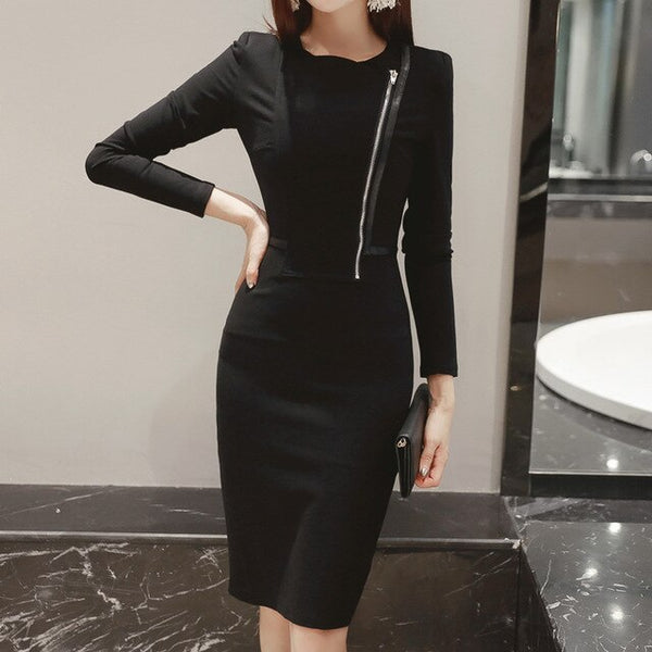 New Women Dress Spring Office Black Red O-Neck Long Sleeve Bandage Bodycon Dress Zip Party Pencil Dress Vestidos De Festa-JetSet-JetSet