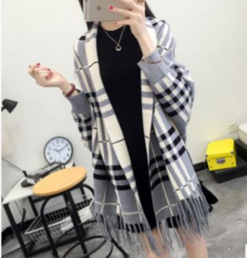 Oversize Out Wear Scarf Winter Knitted Poncho Women Solid Design Cloak Female Long Batwing Sleeves Coat Vintage Shawl-JetSet-JetSet