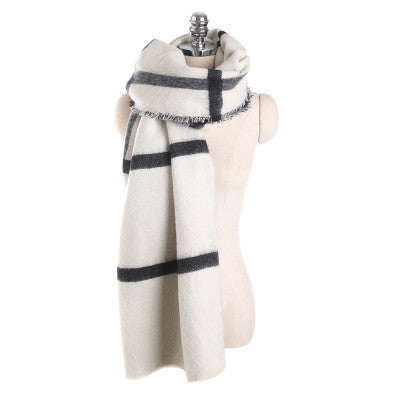 Mingjiebihuo Autumn and winter new black and white double-sided scarf beige plaid scarf warm fashion shawl women girls-JetSet-JetSet