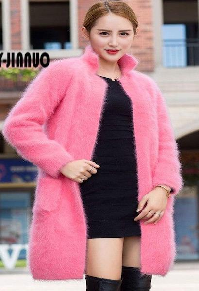 genuine mink cashmere sweater women thick cardigan knitted jacket fashion winter long fur coat free shipping JN322