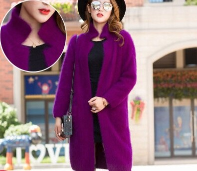 genuine mink cashmere sweater women thick cardigan knitted jacket fashion winter long fur coat free shipping JN322-JetSet-JetSet