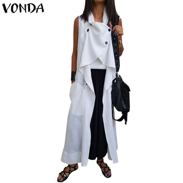 VONDA Fashion Blouses And Tops Solid Color Sleeveless Plus size Cardigan Loose Pockets Women's Tunic Casual Long Shirts Femme-JetSet-JetSet
