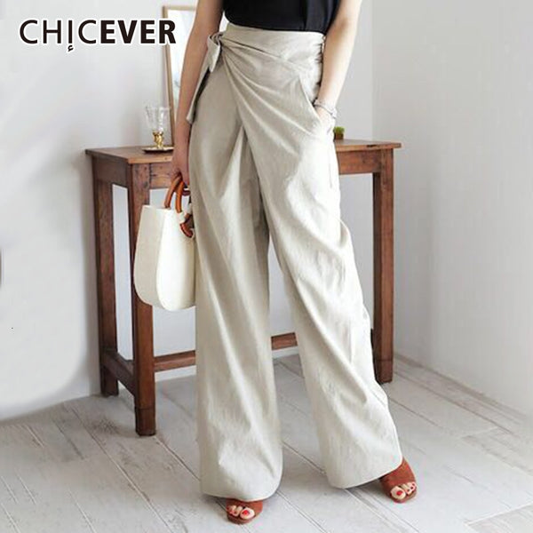 CHCIEVER Lace Up Bow Irregular Trousers For Women High Waist Casual Loose Autumn Wide Leg Pants Female Fashion Clothing 2020 New