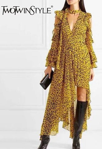 TWOTWINSTYLE Leopard Female Dresses For Women Off Shoulder Flare Sleeve Asymmetric Hem Backless Ruffles Dress Vintage Clothes